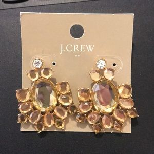 New J. CREW Earrings Gold Crystal Cluster Evening